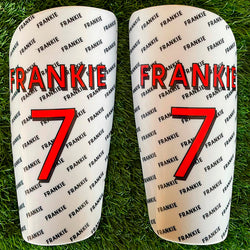 White Name and Number Shin Pads