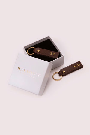 Couples Personalised Leather Key Rings