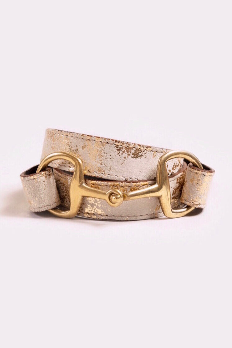 The Snaffle Clasp | Metallic Gold Suede
