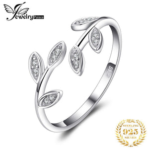 JewelryPalace Olive Leaf Cubic Zirconia 925 Sterling Silver Adjustable Open Ring Love Peace Fashion Jewelry for Girls Women