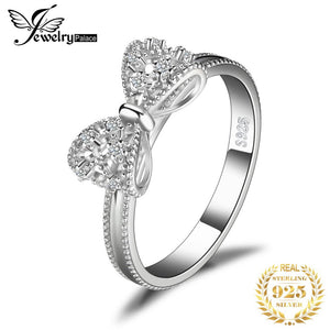 JewelryPalace Bow knot 925 Sterling Silver Rings Cubic Zirconia Pomise Stackable Rings For Women Girls Fashion Jewelry