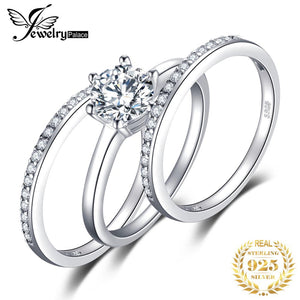 3 Pieces Band Ring Genuine 925 Sterling Silver Ring Set Prongs Round Cut Setting Outstanding Engagement Wedding Birthday Present