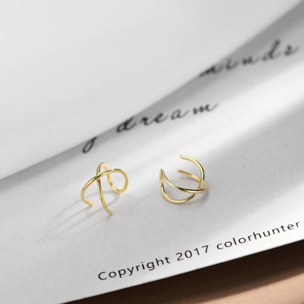 2PCS/Pair 100% Real 925 Sterling Silver Earrings for Women Girls Silver/Gold Color Ear Cuff Cartilage Non-Piercing Clip Earrings