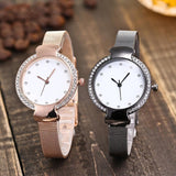Stainless Steel Band Marble Hours Watch For Women's