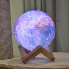 3D Color Changing Galaxy Moon Lamp