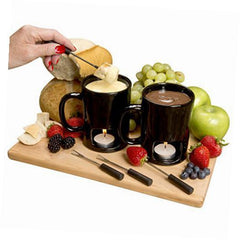 Set of 2 Fondue Mugs With 8 Votives, 4 Forks
