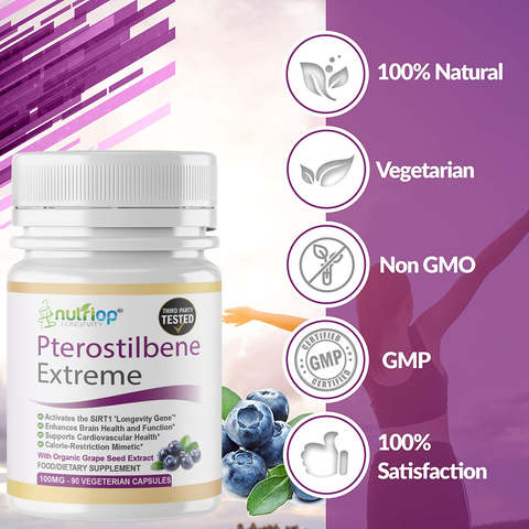 Pterostilbene Extreme con 100% Pure Organic Grape Seed Extract - 100mg Capsules (x90)