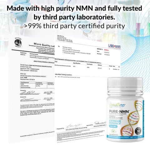 Pure-NMN Nicotinamide Mononucléotide Extreme Potenty 500mg Capsules (x30) - 15 Grammes