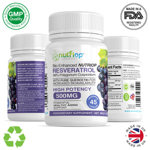 Bio-Enhanced Nutriop® resveratrolo con quercetina pura-500mg capsule (x45)