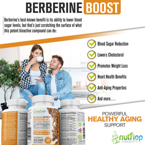 Bio-Enhanced Nutriop® Berberine HCL with Pure Organic Piperine and Grape Seed Extract - 800mg per serving (x90)