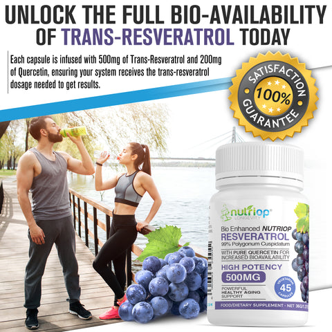 Image of Bio-Enhanced Nutriop® Resveratrol with Pure Quercetin - 500mg Capsules (x45)