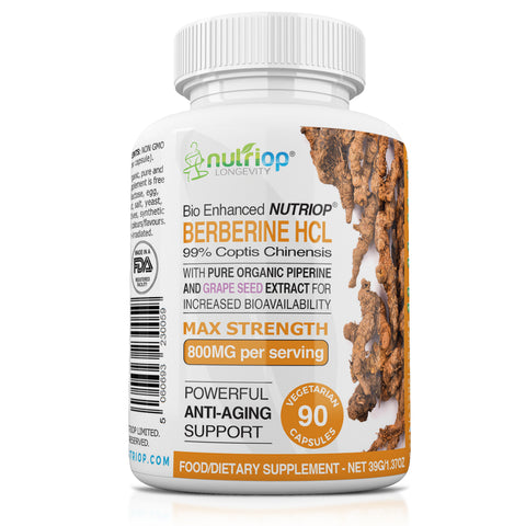 Image of Bio-Enhanced Nutriop® Berberine HCL avec pipérine biologique pure et extrait de pépins de raisin - 800 mg par portion (x45)