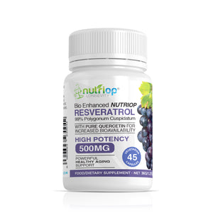 Bio-Enhanced Nutriop® Resveratrol with Pure Quercetin - 500mg Capsules (x45)