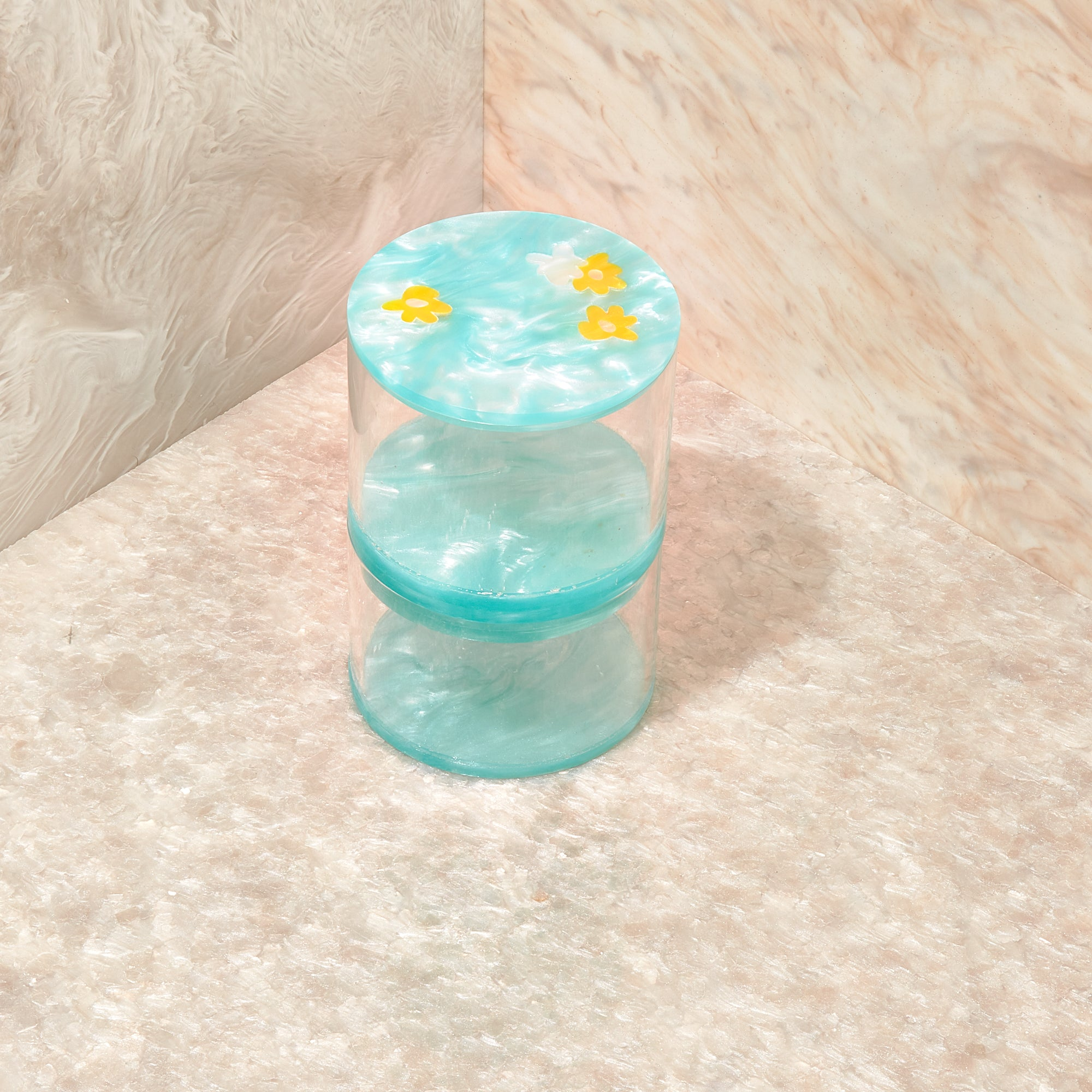 Floral Small Stash Jar In Aqua Sage