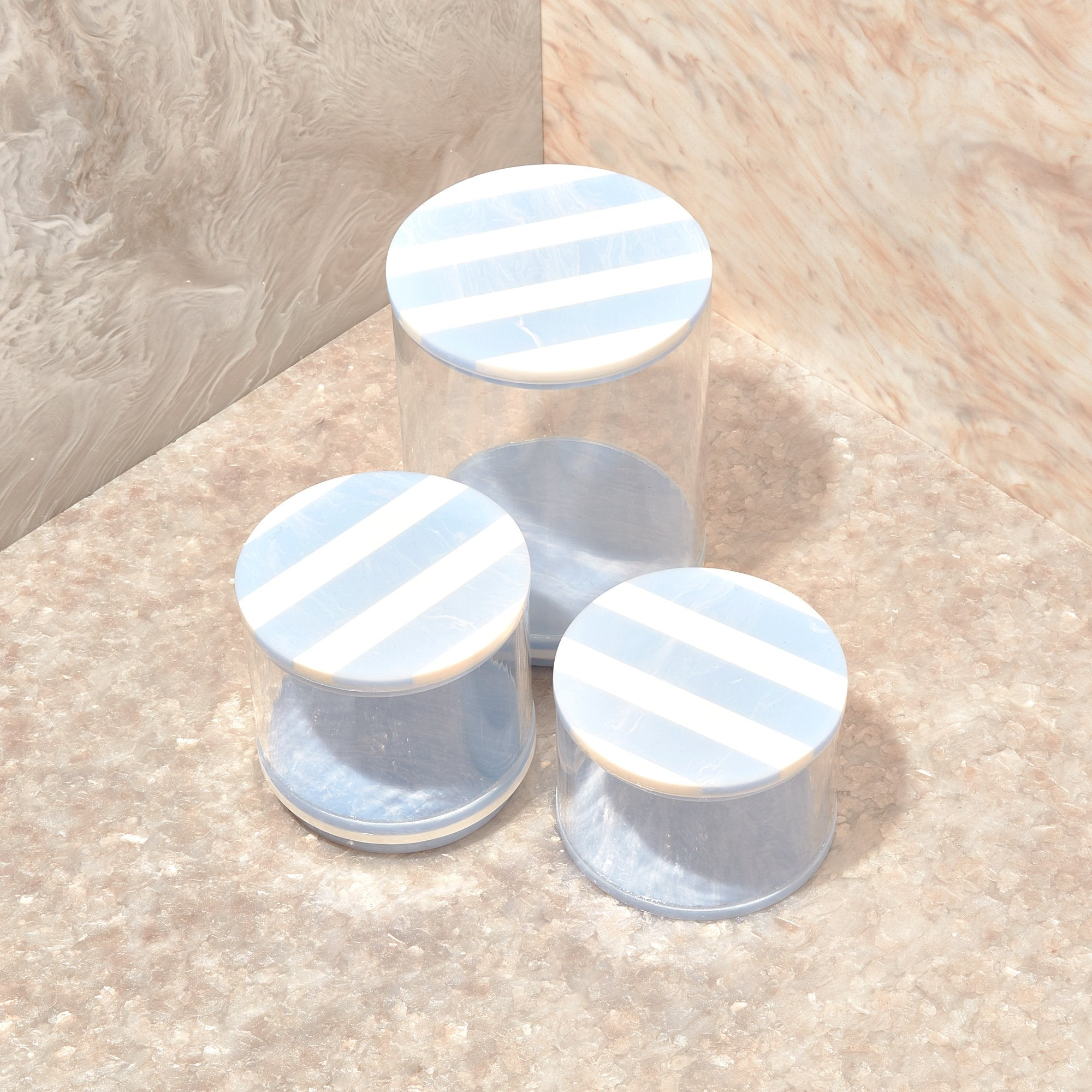 Small Stash Jar in Blue Mist Stripe