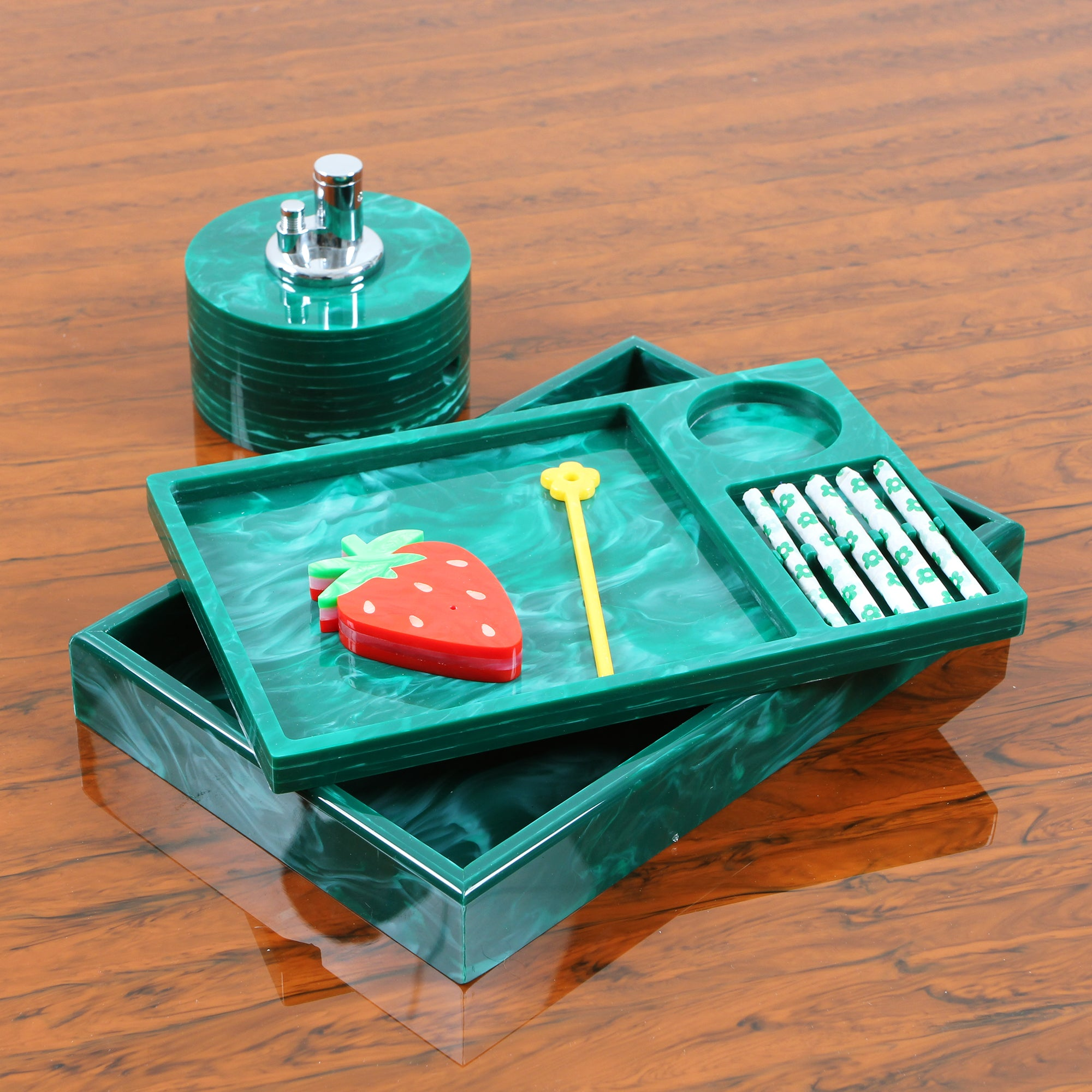 Rolling Tray Insert in Malachite