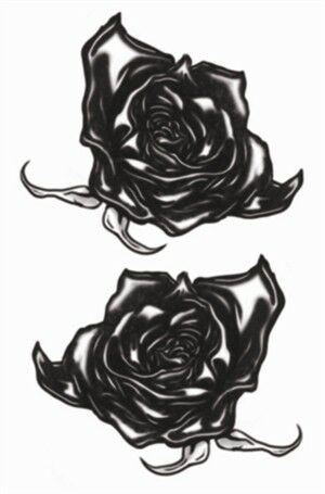 Tinsley Transfers Gothic Black Roses Temporary Tattoo