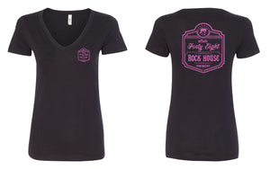 Rock House Pink (LADIES V-NECK)