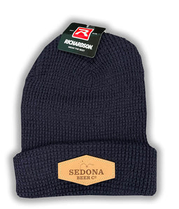 Leather Patch Beanie (Navy Blue)