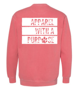 Apparel with a purpose garment dyed sweatshirt
