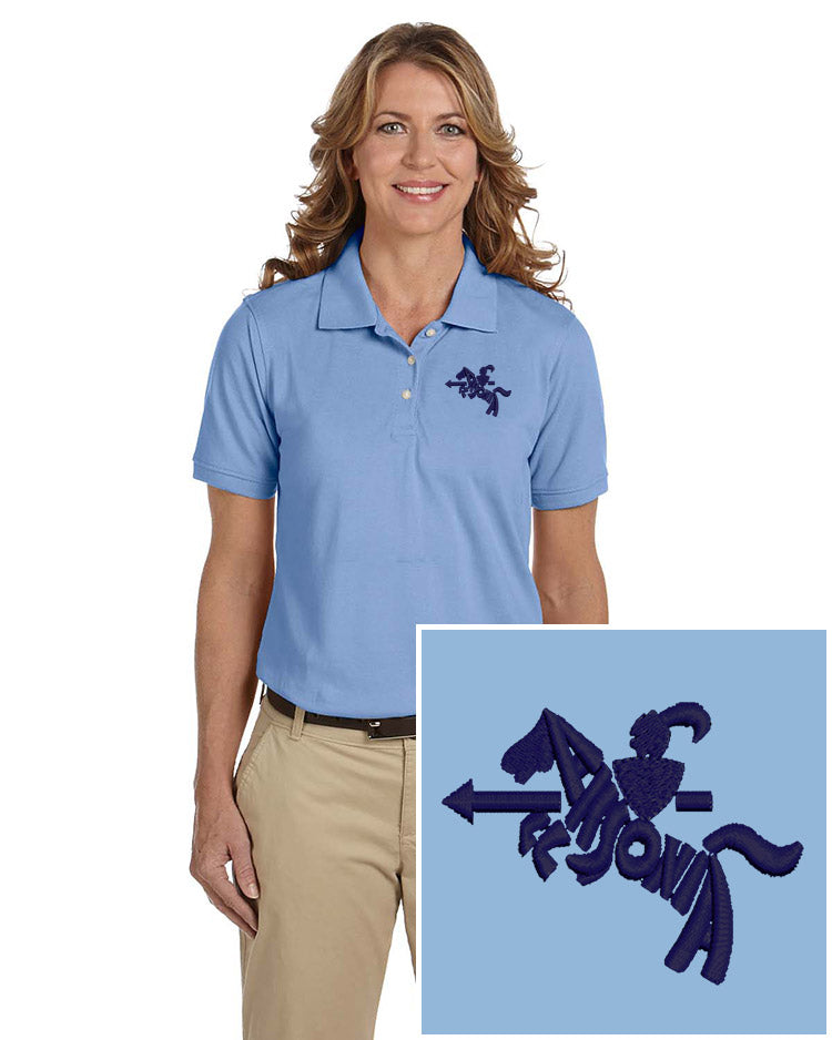 Ladies Short Sleeve Easy Care Polo Light Blue