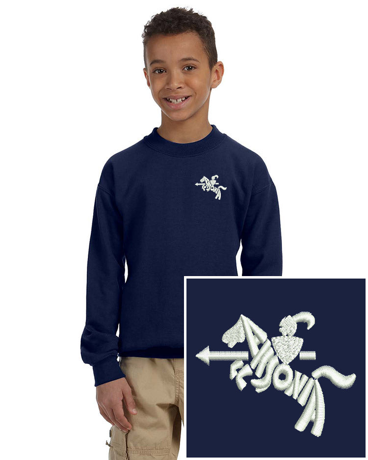 Youth Lightweight Crewneck Sweatshirt in navy