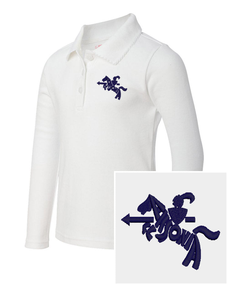 Youth Girls Long Sleeve Easy Care Polo