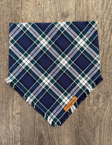 Blue Plaid Flannel Fringe Snap on Bandana