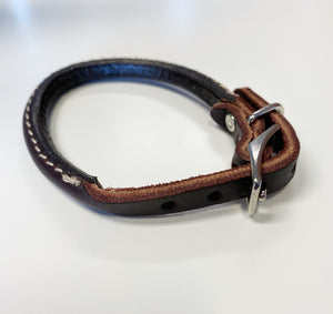 Dark Brown rolled leather collar