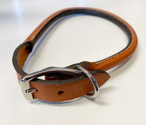 Tan Brown rolled leather collar