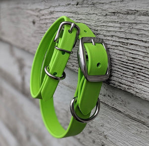 Biothane collar and leash: Lime Green