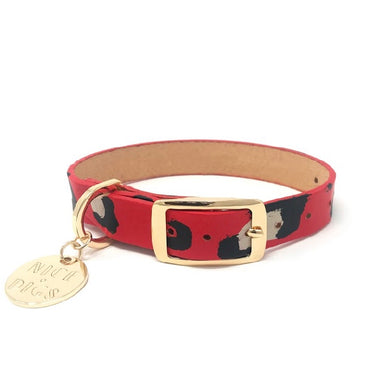 Nice Digs Painted Leather Collar Red/Animal Print