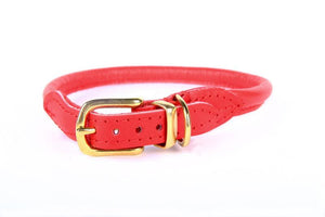 Nice Digs Rolled Leather Collar- Bright Red