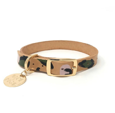 Nice Digs Painted Leather Collar Evergreen/Animal Print