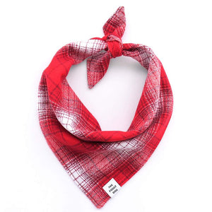Foggy Doggy Flannel Bandana -Cherry Plaid