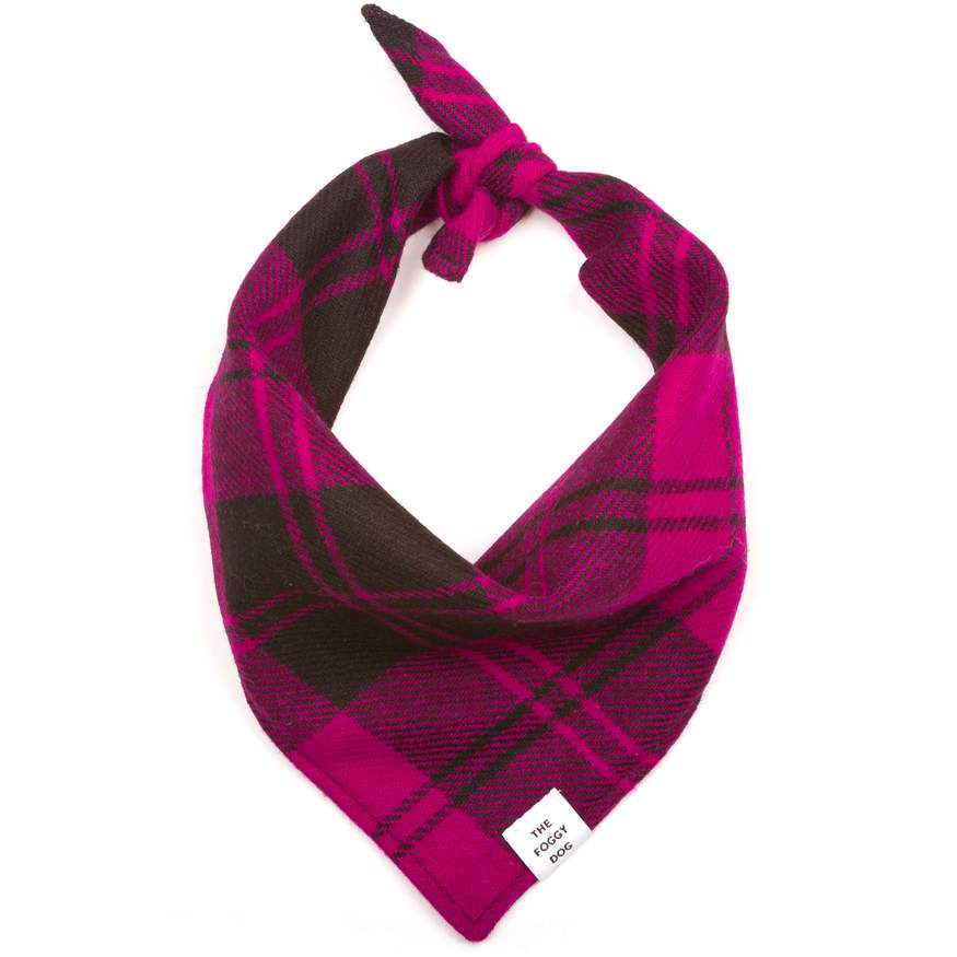 Foggy Doggy Flannel Bandana -Fuschia Plaid