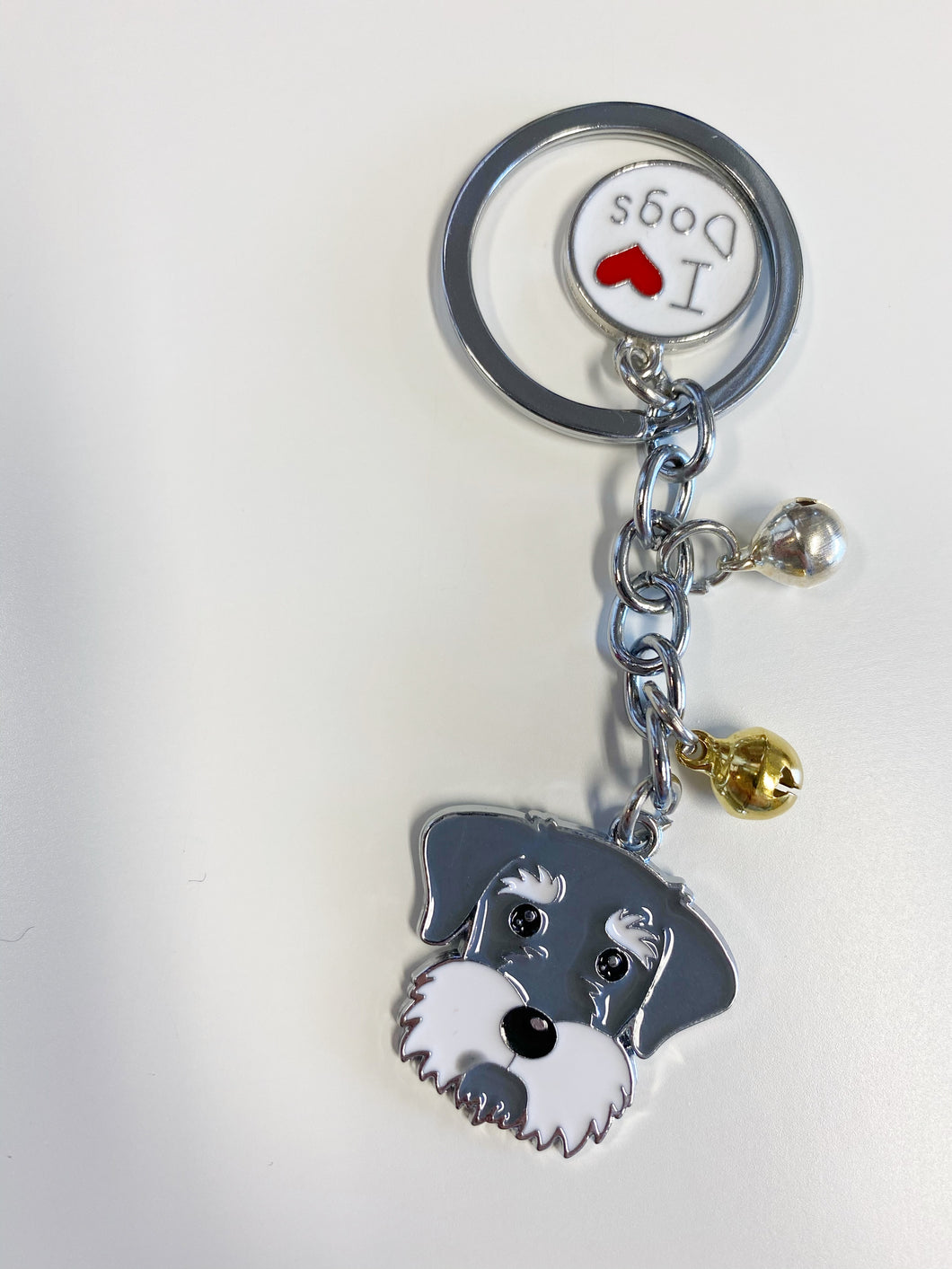 Dog Breed Enamel Keychain: Schnauzer Face
