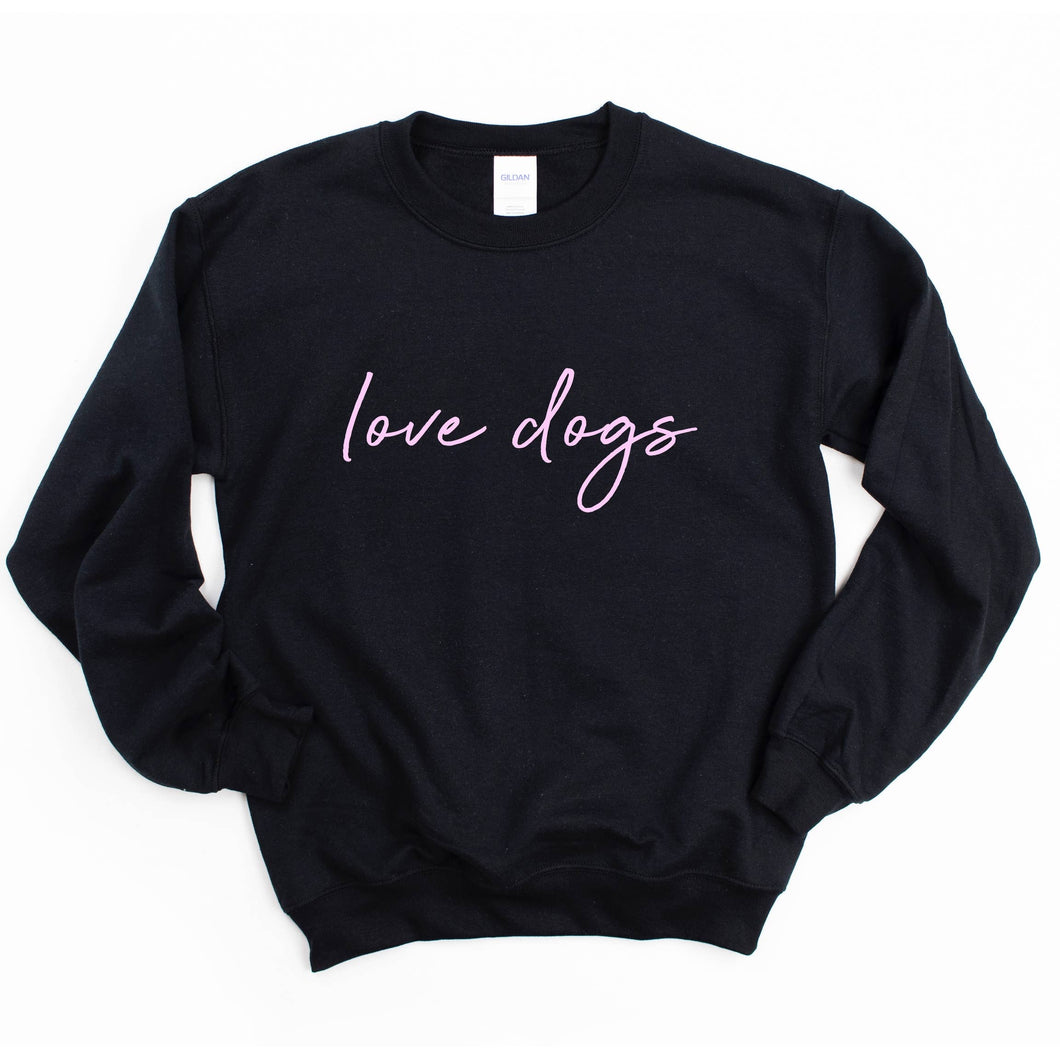 Love Dogs Crew Neck: Black