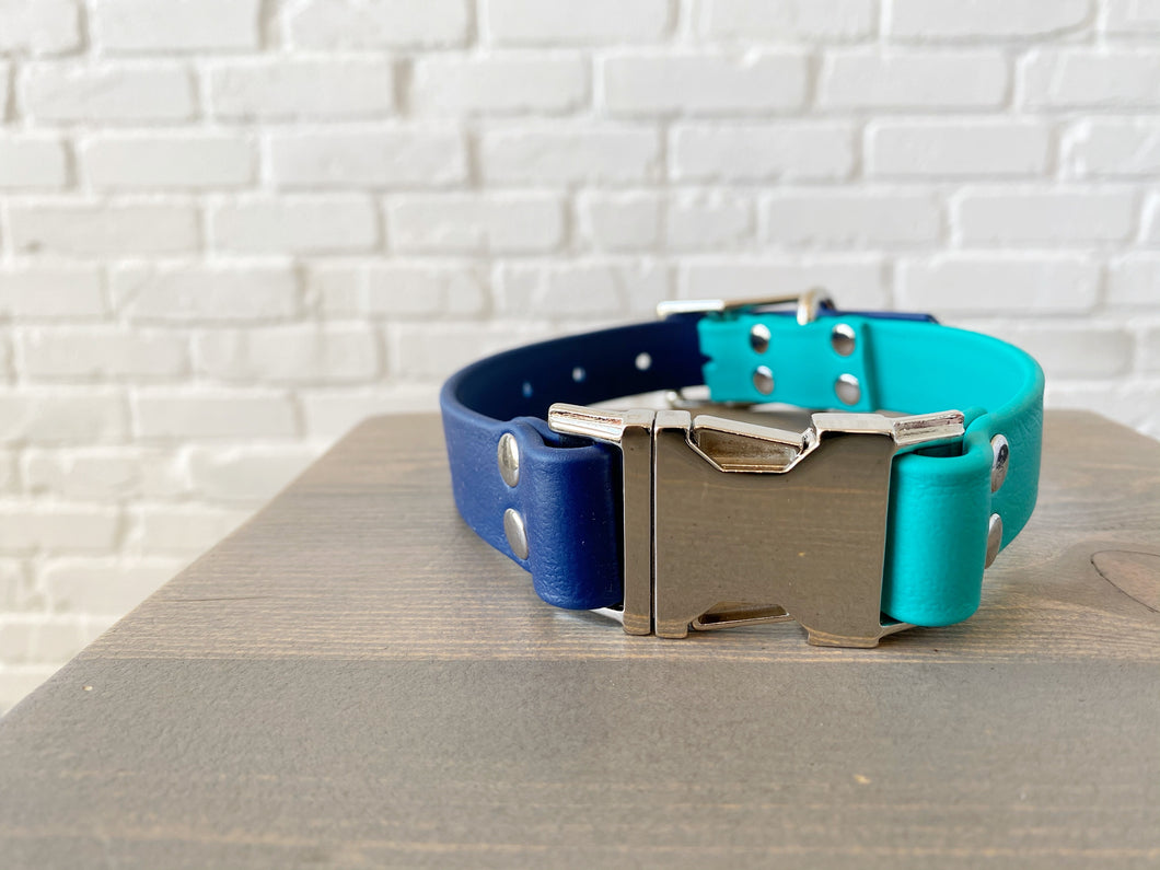 Biothane collar with Buckle: DogDogGoose Teal/Blue