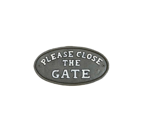 Please Close The Gate Cast Iron Sign
