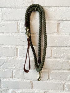 Cotton Rope Leash with Leather Handle- Hunter Green