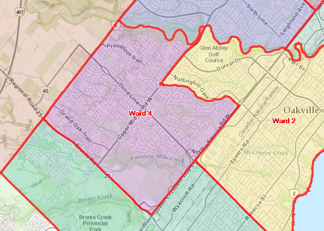 Election Town of Oakville Ward 4 Boundary Map - Vote Muneezah Jawad