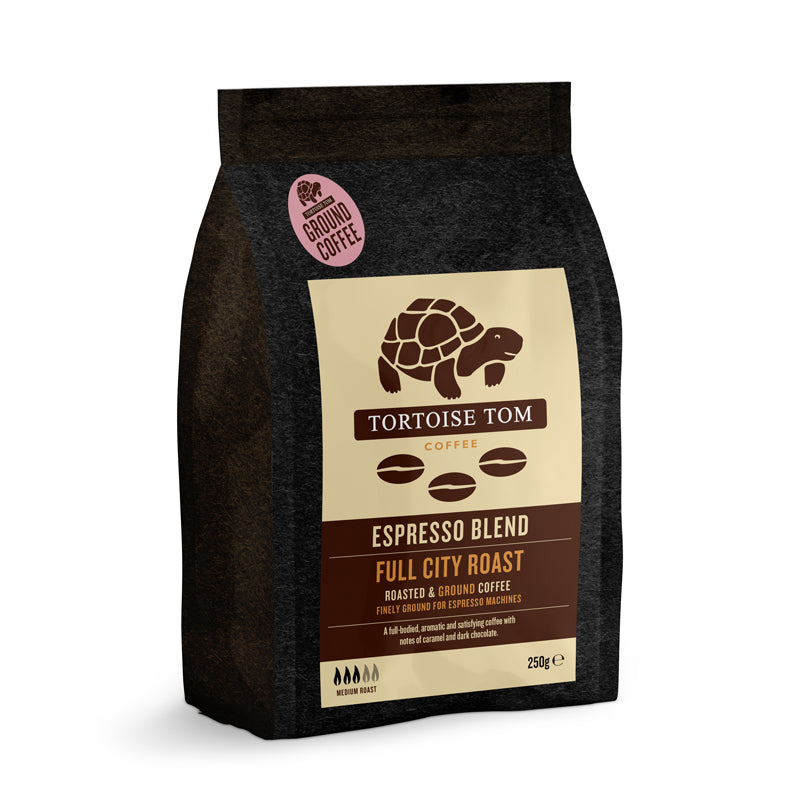 Tortoise Tom Espresso Blends -  Full City Roast Ground Coffee 250g