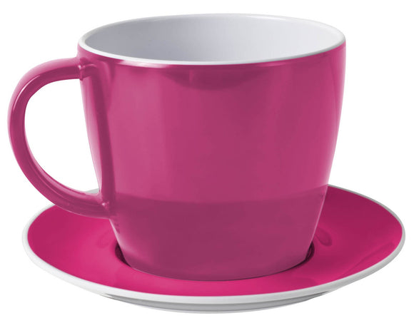 FLAME: TAZZA THE FUXIA CON PIATTINO IN MELAMINA ANTISLIP - AccessoriCaravan.it