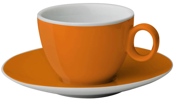 FLAME: TAZZINA ESPRESSO ARANCIO CON PIATTINO IN MELAMINA ANTISLIP - AccessoriCaravan.it