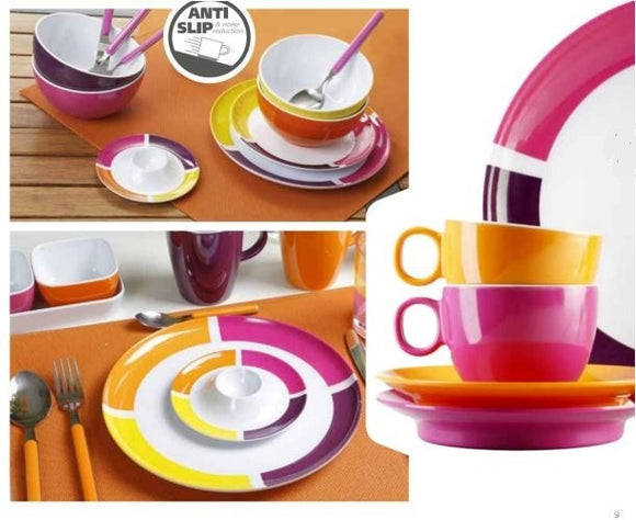 SET BREAKFAST PER 6 PERSONE MOD. FLAME VIOLA STOVIGLIE IN MELAMINA - AccessoriCaravan.it