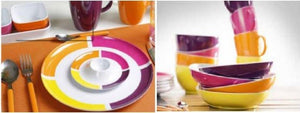 SET PER 4 PERSONE FLAME BRUNCK VIOLA STOVIGLIE IN MELAMINA - AccessoriCaravan.it
