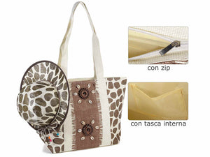 "SET BORSA CON CONCHIGLIE + CAPPELLO CON STAMPA ""SAFARI"" - AccessoriCaravan.it"
