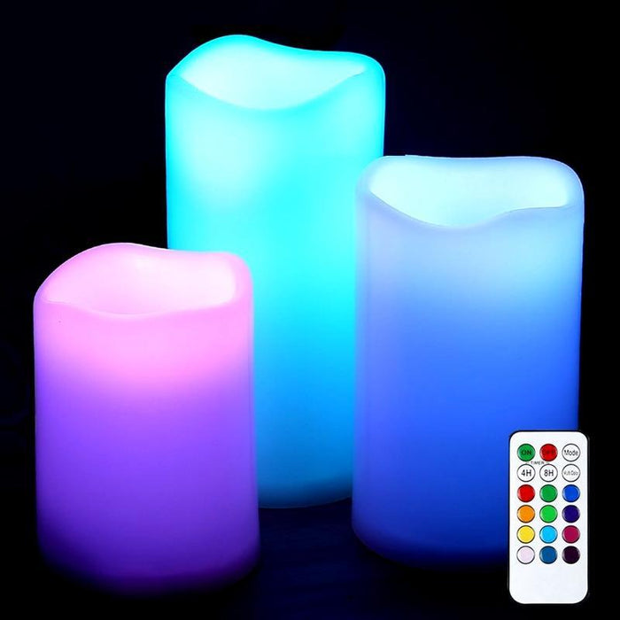 3 Piece Set Multi Color RGB LED Flameless Candles with Remote Control & Timer (3839824134208)