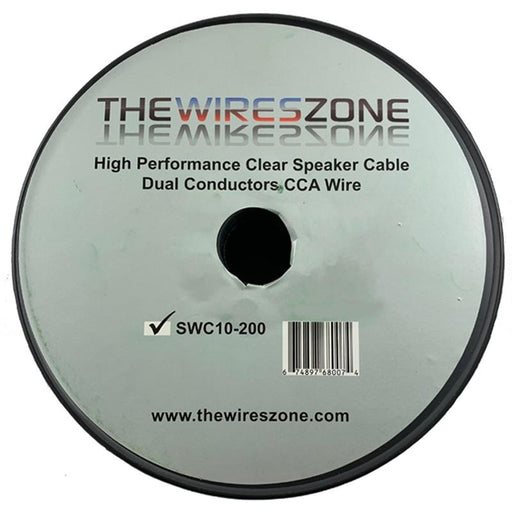 Car Home Audio Speaker Wire Transparent Clear Cable 10AWG 200ft 10/2 Gauge (4100619632704)